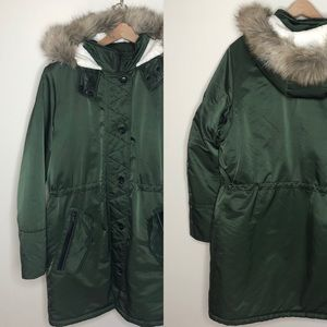 Banana Republic Jackets & Coats - Green shearling faux fur hood long luxe coat XL